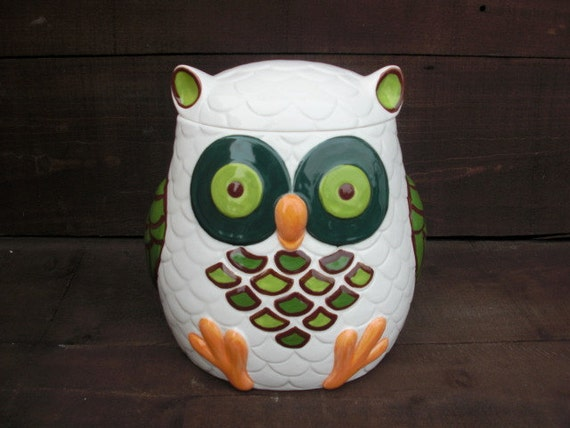 Whooo Loves Owls - Large Modern Ceramic Owl Cookie Jar - Handpainted in Shades of Green and Chocolate Brown