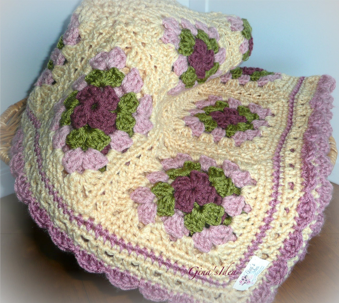 Crocheted Soft Baby Girl Blanket Afghan Granny Squares