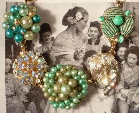 Mixed Green Pearl & Gold Rhinestone Bridesmaids Bracelet, OOAK Vintage Heirloom Cluster Earring Bracelet, Bridesmaids Gift