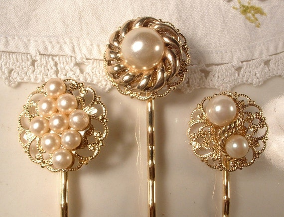 Vintage Creamy Ivory Pearl Gold Jeweled Bridal Bobby Pins - 22K Gold Heirloom Jeweled Hair Clips Set of 3