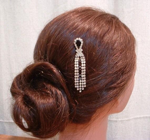 TRUE Vintage Art Deco Flapper Black & Clear Rhinestone Dangle Bridal Hair Pin, Heirloom OOAK Jeweled Bobby Pin