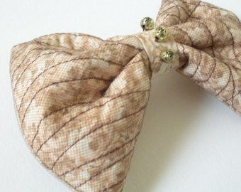 Brown Hair Bow with Tulle, Large Hair Bow, Art Deco Mori Girl Woodland