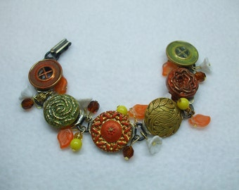 Vintage Beautiful Unique Hand Made Yellow and Orange Vintage Button and Bead Bracelet--One of a Kind