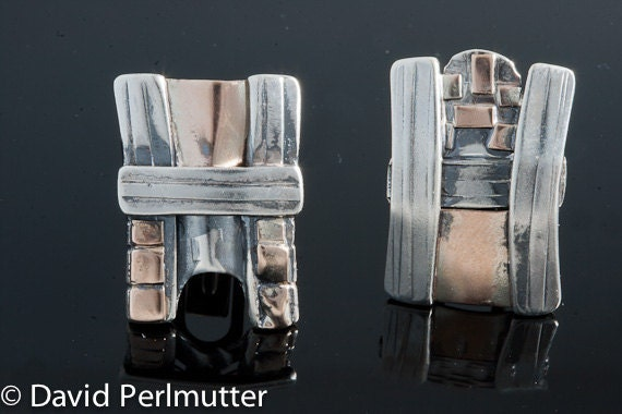 Cufflinks - Inspired by the Old City of Jerusalem. Sterling Silver And Gold - Handmade From Israel