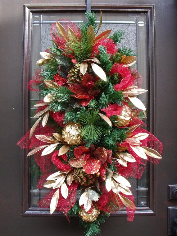 Christmas swag christmas wreath red and gold door wreath