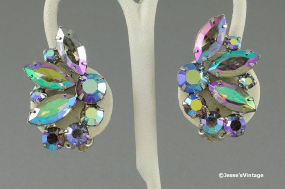 Reserved for Jill and Sharon... Vintage Earrings Chunky Big AB Rhinestone
