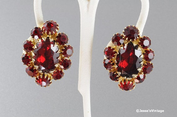 Vintage Red Rhinestone Earrings Clip Back Gold Tone