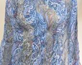 70s Silk Chiffon Blue Paisley Pattern Print Scarf