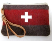 Swiss Army wool Bag clutch. Utility-toiletry bag-Unique- Handmade from Vintage Swiss Army  Wool Blankets -Swiss Cross. Great Gift for Guys