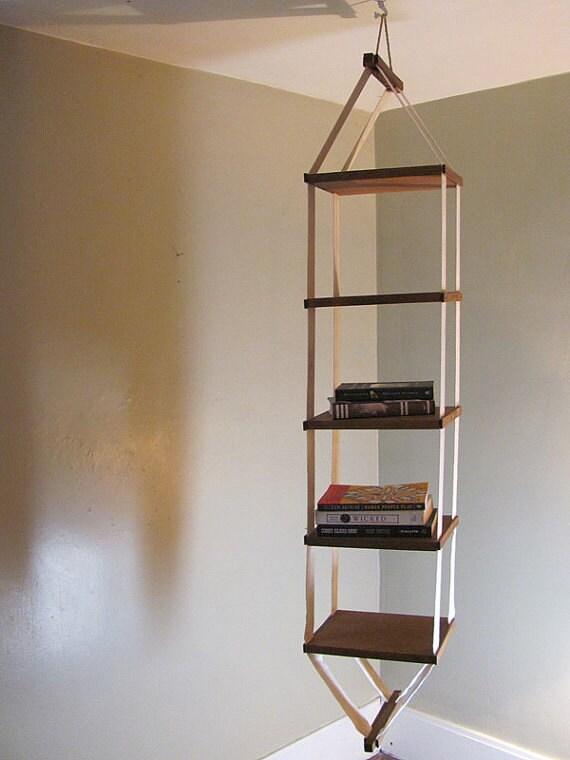 vintage handmade collapsible wooden hanging shelf 5 shelves