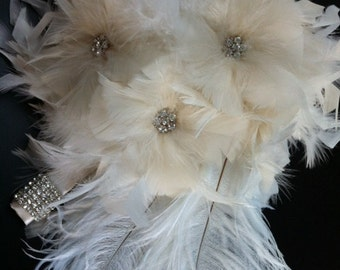 Vintage inspired ivory feather rose,ostrich & crystal feather flowers