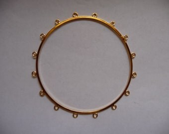 Bracelet base, bangle, gold-plated brass, 76mm with 16-loops. Sold individually