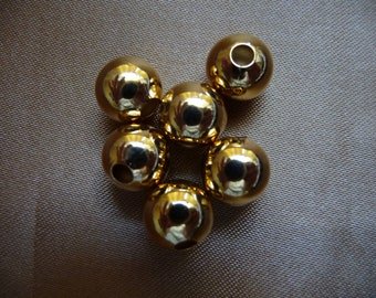 SALE!! Bead, gold-plated brass, 9mm smooth round, Pkg Of 10 SALE!!