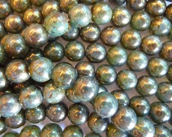 Beads, Czech Glass Beads, Pressed, Round Beads, 10mm, Milky Peridot,  Bronze Picasso, Pack Of 12 beads.