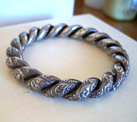 Antique Sterling Silver Bracelet Repousse Twist Bangle Very Old