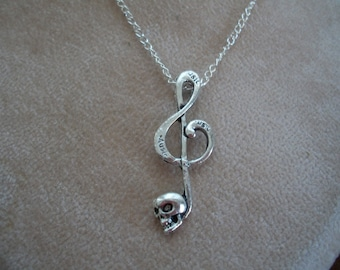 Treble Clef Music Note with Skull, Gothic, Necklace, by Brendas Beading on Etsy