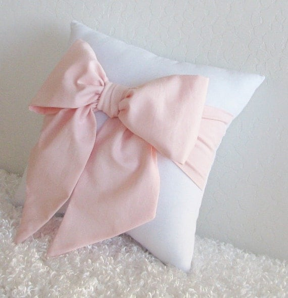 Pale Pink/ Peach and White Bow Accent Throw Pillow 1 by