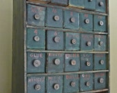 Vintage Blue-Green Cabinet/Chest RESERVED FOR SHAMFORGE