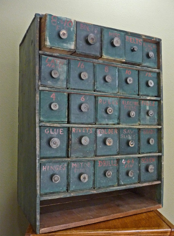Vintage Blue-Green Cabinet/Chest RESERVED FOR SHAMFORGE
