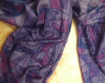 Beautiful Abstract Print Scarf,  Recycled Sari Pure Silk Scarf (22x70)