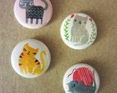 Sassy Cats Button or Magnets (Pack 1)