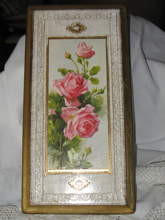 PRICED REDUCED  Vintage Italian Cabbage Roses Wall Hanging with Beautiful Design