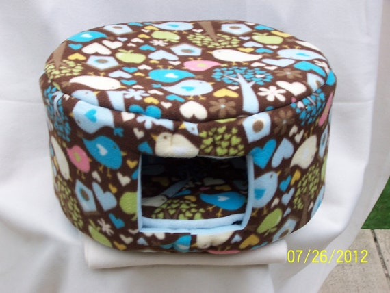 Cat Bed, Dog Bed - Large Fleece Custom Cozy Bed - Brown with Birds, Hearts and Flowers