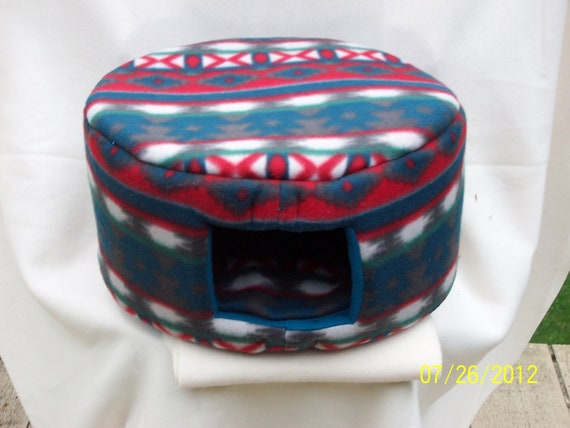 Cat Bed, Dog Bed - Large Fleece Custom Cozy Bed - Teal, Red, White Aztec