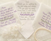 Set of Three Embroidered Personalized Mom & Dad of the Bride Mother In Law 3 Wedding Hankerchiefs By Canyon Embroidery