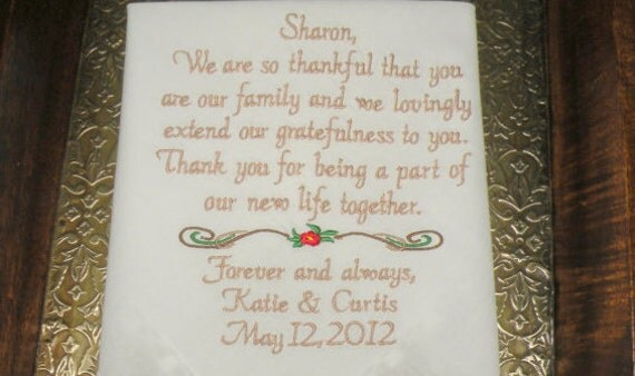 Stepmother of the Bride Wedding Gift Personalized Embroidered Wedding Handkerchief By Canyon Embroidery