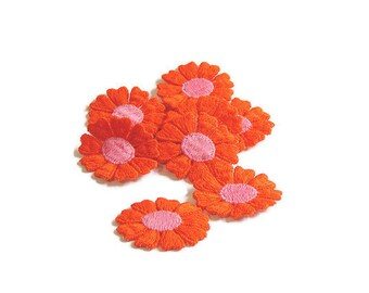 Orange Applique, Orange Flower Applique, Hippie Flowers, 1960s Flowers, Applique, Embroidered, Orange, Pink, Lot of 12, Orange and Pink