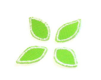 Green Leaf Patch, Green Leaf Applique, Green Leaves, Applique, Embroidered Applique, Jolly Green, Yellow Green, Lime Green, Patch, Lot of 12