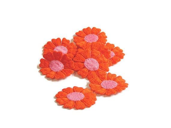 Orange Applique, Orange Flower Applique, Hippie Flowers, 1960s Flowers, Applique, Embroidered, Orange, Pink, Lot of 12, Orange and Pink
