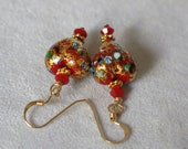 Venetian Glass Earrings Red Heart 14K Gold Filled