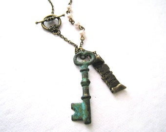 Skeleton Key Necklace. verdigris patina key pendant with love letter and pearls