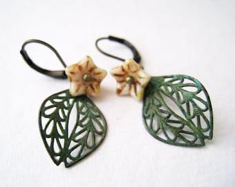 Fall Leaf  Earrings. verdigris patina filigree drop with  czech bell flower leverback earrings
