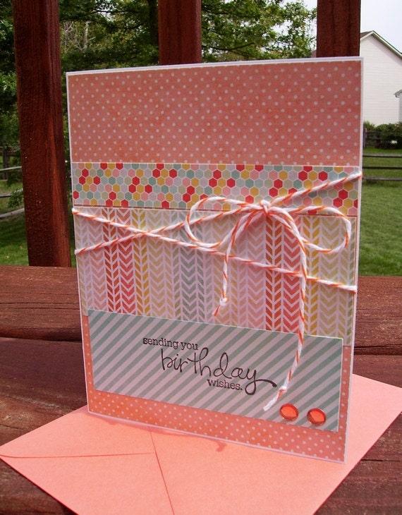 Birthday Card - Spring Summer Fall Birthday, Chevron Stripes Honeycomb, Orange Peach Light Aqua Yellow