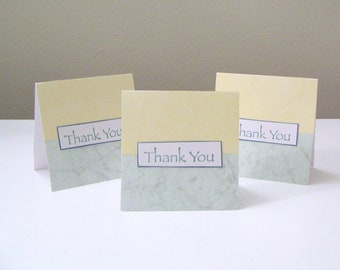 Set of Three Handmade Pastel Yellow and Teal  Mini Stamped Thank You Notes