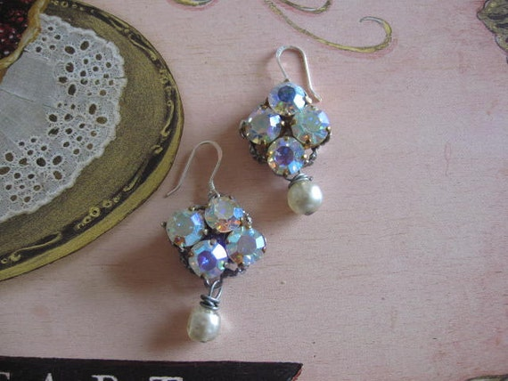 POsSIble RESERVED. Crisp Winter Air.vintage assemblage dangle earrings