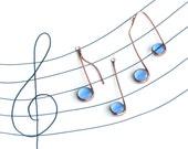 Three Glass Musical Notes Cornflower Blue and Copper Suncatcher Ornaments