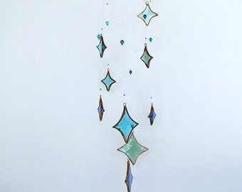 Ocean All Stars Aqua Mixed Glass Crystal and Copper Hanging Mobile
