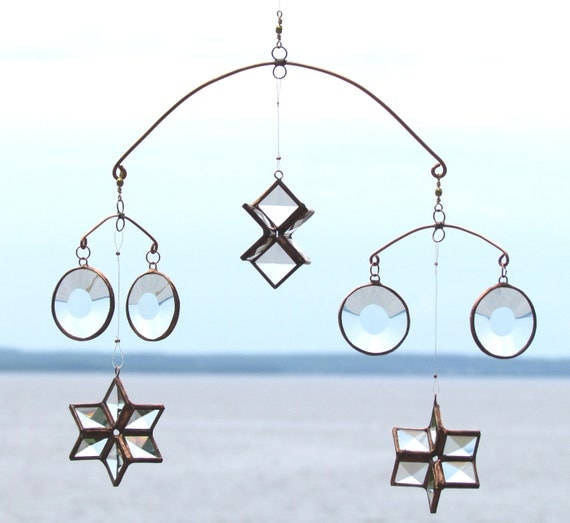 Galaxy of Stars and Planets - Faceted Glass and Copper Mobile with 3D stars and circles