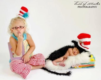 The Cat with the Hat newborn crochet pattern, photo prop or gift idea