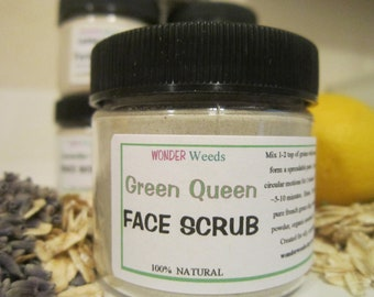 FACE SCRUB, All Natural, with Honey,  Rhassoul and French Green Clay