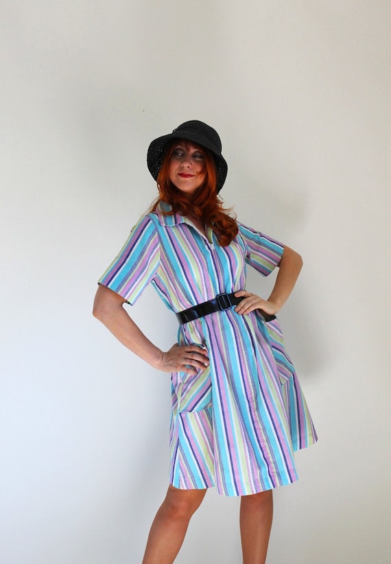 RESERVED for Chrissie- 1960s Purple Blue Green Stripes Print Day Dress. Boho. Hipster. Mod. Fall Fashion. Spring Fashion. Size Large