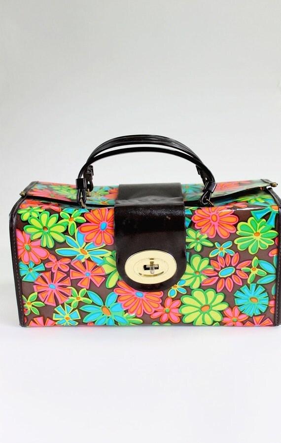 Sale - 1960s Floral Mod Makeup Case. Travel Case. Large Purse. Mad Men Fashion. Vacation. Summer. Spring Fashion