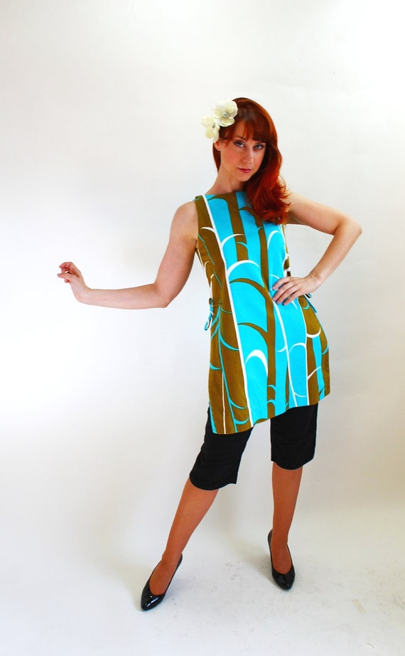CLEARANCE-1960s Mod Short Shift Dress. Olive Green Aqua Blue. Top. Tiki Party