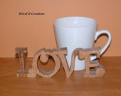 Love - Home Decor Wooden Love Sign for Your Desk, Shelf or Table - Romantic Gift Idea