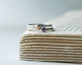 Wedding Band Set Sterling Silver And 14K Gold Geometric Nugget With Pink Sapphire Rings Handcrafted