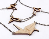 Origami crane and birds Necklace. Laser cut wood.